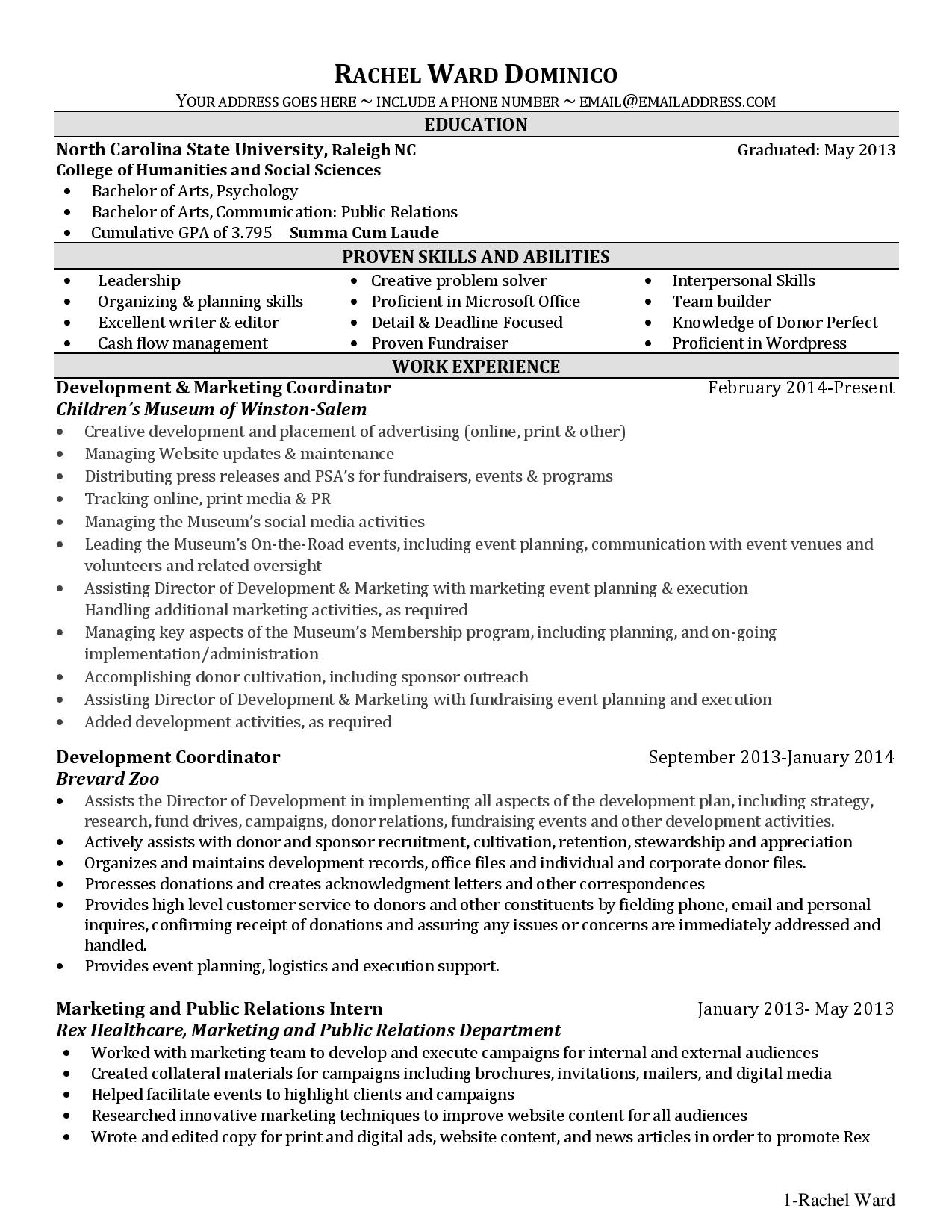 image gallery listing education on resume
